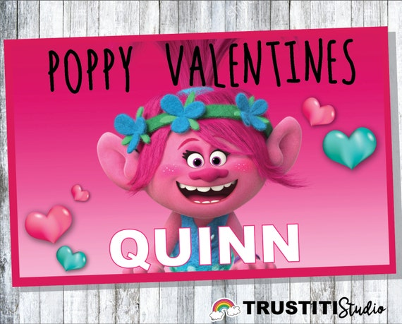 Trolls Printable Personalized  Valentine Cards