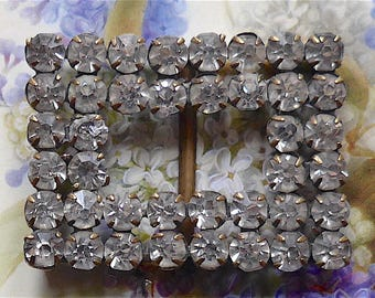 Shoe buckle, diamante, Bohemian, antique.   Oblong shaped, with 2 straight rows of claw set diamante. c1890-1910.