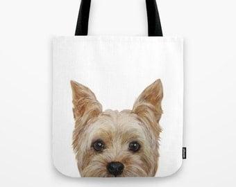 Yorkshire Terrier,Tote bag, original painting print on both sides, illustration print tote bag