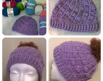 Crochet Messy Bun Hat in Sparkle Yarn