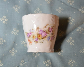 Small Little Vintage Beaker Shaped Vase Decorated With Flowers