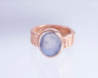 The Pacifk Image's Goodwin and Maxwell: Hand Forged and Stamped Copper and Blue Chalcedony Ring. Made in USA, ships FREE in USA.
