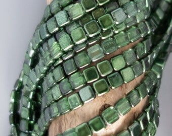 CzechMates Two Hole Mirror Fern Green Tile Glass Beads - 50 Beads - Fern Green Czech Glass Tile Bead - 3562 - Green Tile Beads