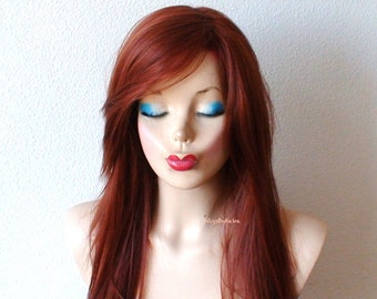 Auburn wig. Long straight wig. Durable heat friendly synthetic wig for daily use or Cosplay