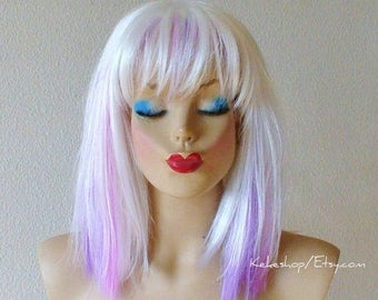 White /pink/ lavender wig. Fantasy white hair with pink lavender purple highlighted wig.