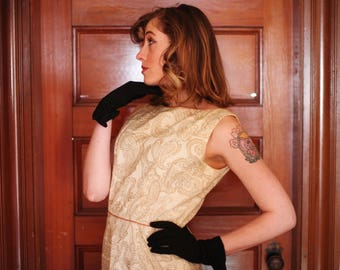 SALE 60's Paisley Gold Dress