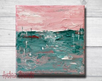 Original Abstract Landscape Acrylic Painting Impressionist Wall Fine Art Surreal Mini Canvas 5 x 5 inches