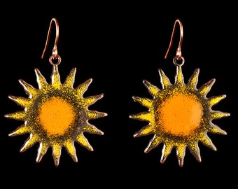 Torch fired copper enameled sun earrings