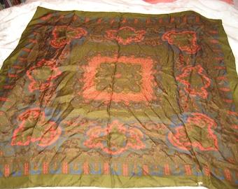 Dark olive green square silk scarf, Edwardian filigree design in pink and blue, vintage 60s neck scarf