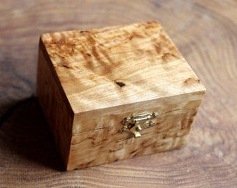 Wooden Box, Wedding Ring Box, Birch Box, Exotic Wood, Karelian Birch, Small Wooden Box, Trinket Box, Jewelry Box, Gift for Her, Gift