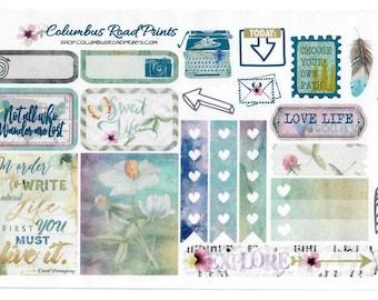 "Planner sticker sheet, Nature Walk"" Planner Stickers, fits Erin Condren Vertical Life Planner, fits ECLP, Stickers, Romantic  Bohemian"