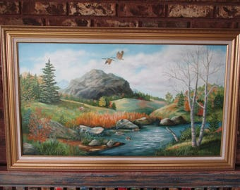 "Vintage Original Landscape Painting | Oil on Canvas | G. Stone | Fine Art | Gallery | Home Decor | Wall Hanging | 25""x41"" 