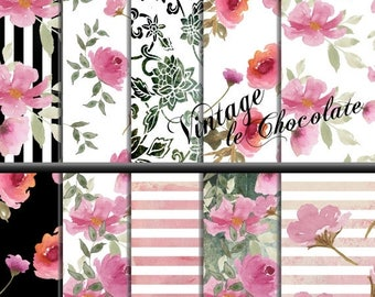 ON SALE Watercolor Rose Floral Paper, Pink Floral Digital Paper, Shabby Chic Rose Watercolor Paper, Pink Roses, Shabby Scrapbook Paper. No.