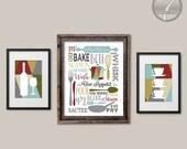 ON SALE Kitchen Art Subway Typography Coffee Wine Art Prints, Farmhouse Colors, Set of (3) Two Size Options // Modern Kitchen Art Decor - Un