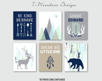 Boys Woodland Nursery Art Prints, Dream Big, Baby Boy Personalized Tribal Art, Bear Deer Antlers Mountains, Set of (6) Many Sizes Unframed