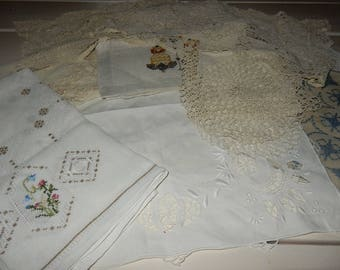 Set of 10 swedish hand embroidered doilies /hand made  runners / vintage / retro