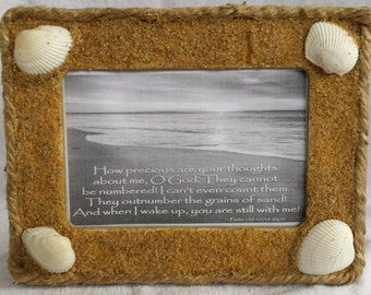 Beach Picture Frame, Sand and Shells Picture Frame, Beach Photo Frame
