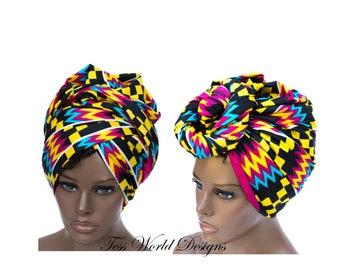 Kente Print headwraps /Turban African Head wraps/ Turban headwrap/ African hair accessory/ African Fabric/ African Head scarf/ HT172
