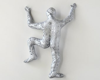Climbing man sculpture, wire mesh sculpture, Hanging sculpture, Modern metal art - Silver