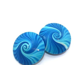 SPRING SALE Swirl beads, Polymer Clay lentil beads in blue, turquoise and white, unique pattern, set of 2 elegant beads