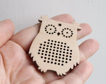 SET OF 5 - Cross stitch pendant blank OWL - owl blanks Wood Needlecraft Pendant, Necklace or Earrings - OWL2 - ODV32