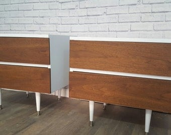 Available pair of 2 tone midcentury modern nightstands