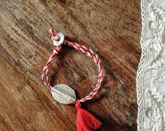 Traditional March bracelet, jute cord March bracelet with silver bead and red tassel, red white March bracelet, Greek folklore bracelet