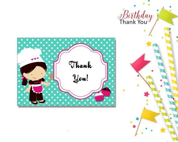 Thank You For Baking: Baking Girl Thank You Cards-KBI281TY Editable Printable