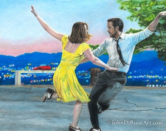 "Print of Colored Pencil Drawing of Emma Stone and Ryan Gosling in ""La La Land""  8.5 x 11"