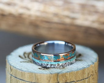 Mens Wedding Band Patina Copper, Antler & Turquoise Wedding Ring - Staghead Designs