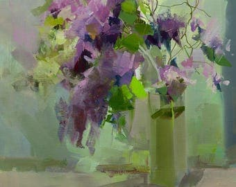 Lilac painting, Flower oil painting, Original contemporary artwork, Floral painting, Abstract Modern art green painting