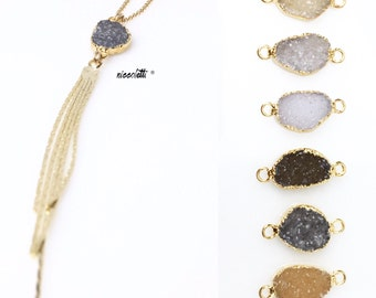 Gold Filled Druzy Tassel Necklace / Raw Druzy Pebble  Necklace / Bohemian Jewelry Gifts for Her / Gold Fringe Necklace / Festival Jewelry