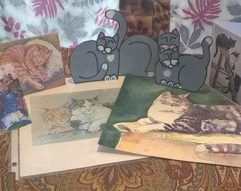 Cat  Lover's  Grab Bag DELUXE---cat art notecards, original feline art, kitty shelf setters, and more - one dollar shipping!