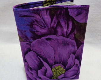 Purple Flower Design Passport Cover - Purple Passport Holder - Fabric Passport Case - Travel Wallet - Wild Rose Design