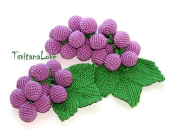 Crochet Grapes (1pc+) - Seasons - Eco-friendly Fruit - Play food - crochet toys - Natural materials - game in the kitchen - Ready to ship