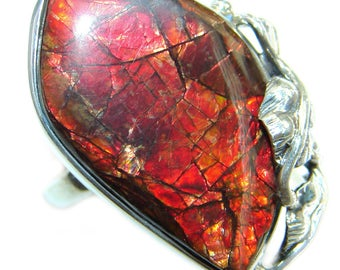 Ammolite Sterling Silver Ring - weight 12.50g - Size adjustable - dim L- 1 1 4, W - 3 4, T- 1 4 inch - code 5-maj-17-30
