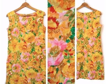 Vintage floral dress size Large Womens sleeveless