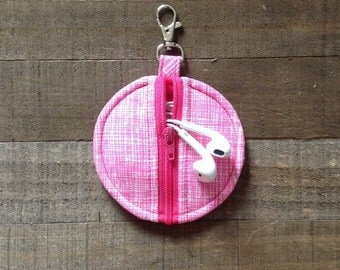 Circle Zip Earbud Pouch / Coin Purse - Pink and White Sketch