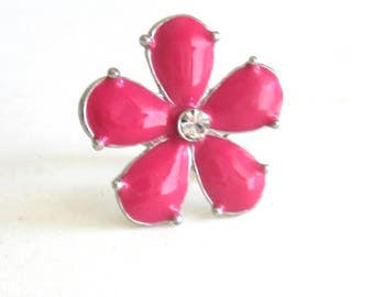 Enamel & Rhinestone Ring Hot Pink Flower with Rhinestone Center Stone Adjustable Size Hippie Boho