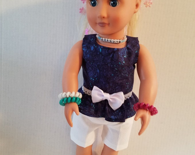 """18"""" doll clothes  handmade to Fit like American Girl,Blue Top with Ruffle/Lace and Bow White Shorts Free Shipping"""