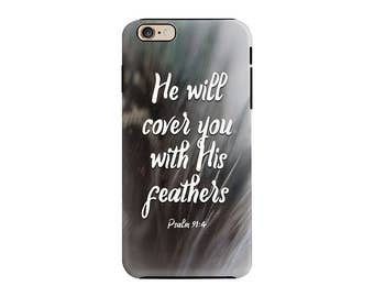 Feathers Psalm 91 Bible Verse Cell Phone Case Christian Typography Religious Quote Phone Case Cover For iPhones OR Samsung Galaxy