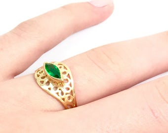 Unique Promise Ring, Delicate Promise Ring, Ring For Girlfriend, Marquise Ring, Gold Plated Ring, Green Zircon Ring, Unique Ring For Her