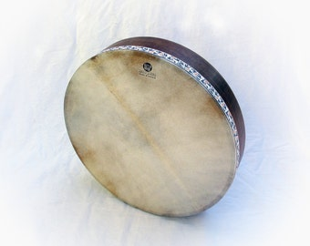 Bendir Frame Drum Tar 45cm Μπεντίρ Νταϊρές Τύμπανο Bodhrán Walnut Wax Style Finish Greek Goat Skin with Grey Bird Jacquard Ribbon KleoDrums