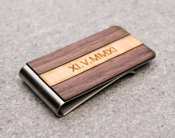 Engraved money clip, Personalized money clip, thin card wallet, credit card holder, wooden money clip, mens gift, personalized gift