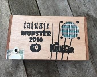 """Cigar Box Bluetooth Speaker, Guitar Amplifier, Wired Speaker, Handmade Portable Amp - Tatuaje Monster 2016 """"The Krueger"""""""