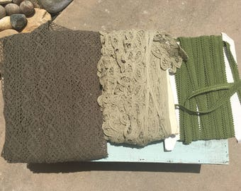 Clearanced Trim Fabric Jute. Green trim. Green fabric strips. Clearanced burlap