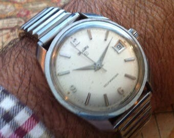 Vintage Elgin Watch, Stainless Steel Bezel Round Case, Calendar, 17j Automatic Watch, Self Winding, 1950s Mid Century Modern, FREE SHIPPING