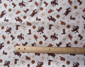 Riley Blake White Cowboy/Rodeo/Horse/Boot Cotton Fabric by the Yard