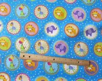 Blue Jungle Animal/Lion/Giraffee/Elephant/Tiger Medallion Flannel Fabric by the Yard