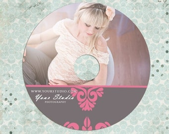 ON SALE Wedding - Maternity - CD label photoshop template - Instant Download